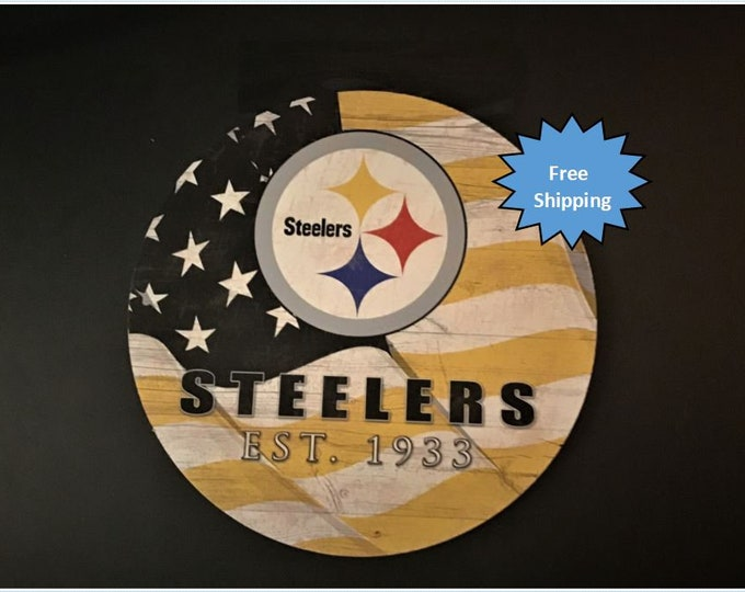 Pittsburgh Steelers Round Wood Sign