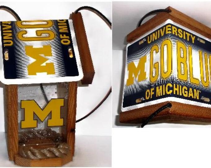 Michigan University Wolverines  Two-Sided Cedar Bird Feeder
