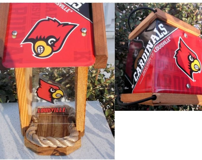 Louisville Cardinals Two-Sided Cedar Bird Feeder (SI series)