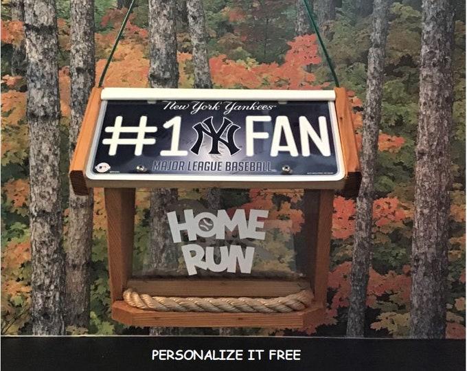 NY Yankees #1 Fan Deluxe Cedar Two Sided Bird Feeder