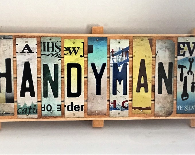 Handyman Cut License Plate Strip sign