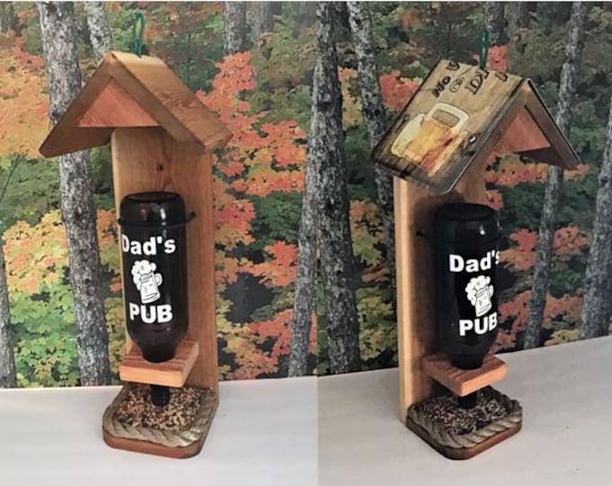 Dad's Beer Bottle Cedar Bird Feeder