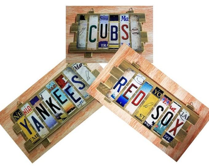 MLB Cut License Plate Strip Sign