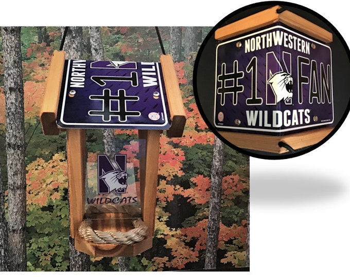 Northwestern University (Wildcats) #1 Fan Two-Sided Cedar Bird Feeder