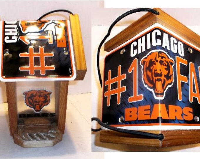 Chicago Bears #1 Fan Two-Sided Cedar Bird Feeder