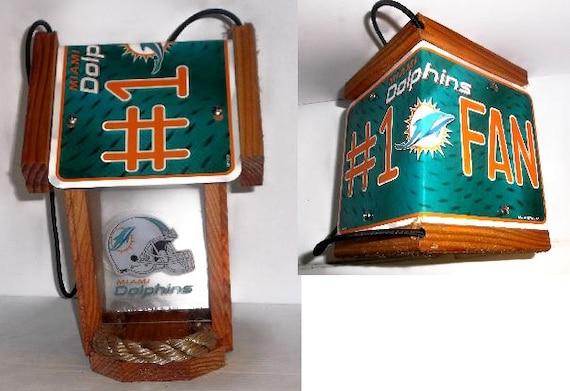 Miami Dolphins #1 Fan Two-Sided Cedar Bird Feeder