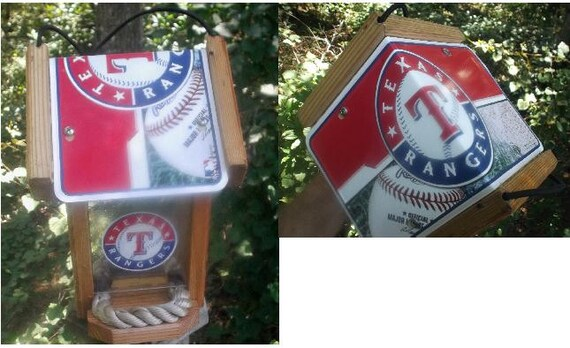 Texas Rangers Two-Sided Cedar Bird Feeder
