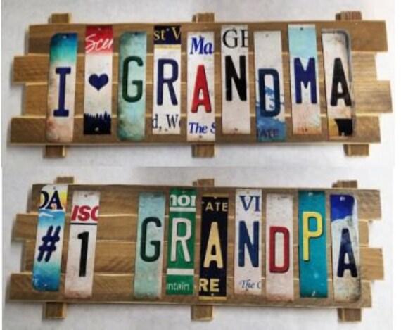 Grandma & Grandpa  Cut License Plate Strip Sign