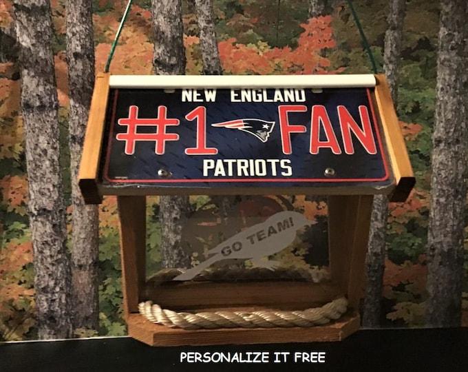 New England Patriots #1 Fan Deluxe Cedar Two Sided Bird Feeder