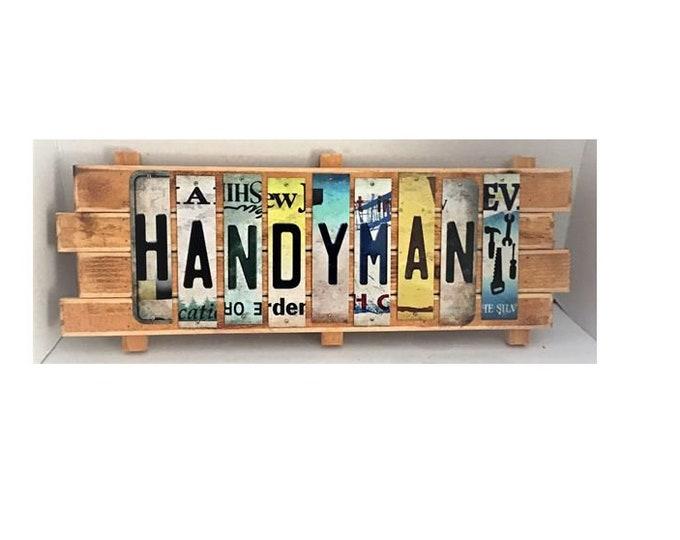 Handyman Cut License Plate Strip sign