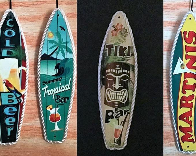 Beer, Bar, Tiki Bar & Martinis Surf Board Signs