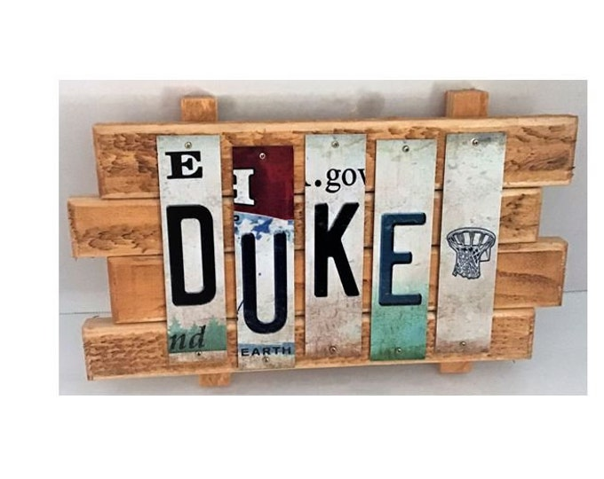 Duke University Cut License Plate Strip Sign
