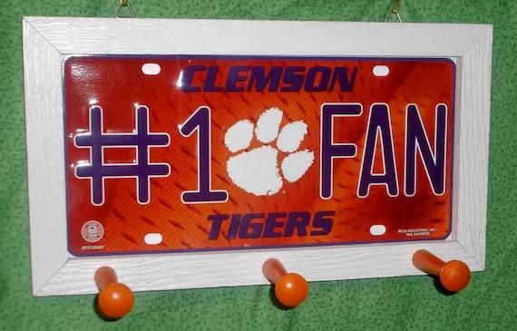 Clemson Tigers #1 Fan License Plate Peg Hanger