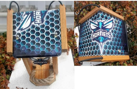 Charlotte Hornets Two Sided Cedar Bird Feeder