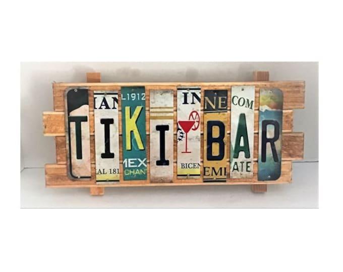 Tiki Bar Cut License Plate Strip Sign