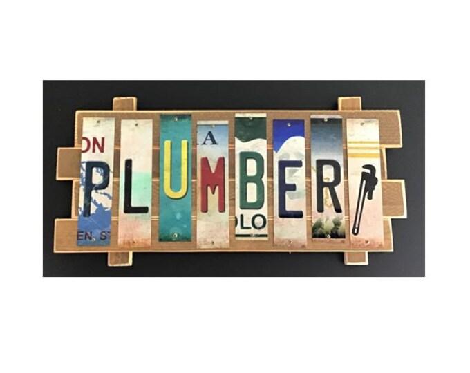 Plumber Cut License Plate Strip sign