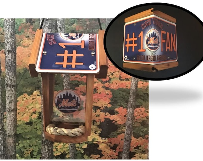NY Mets #1 Fan Two-Sided Cedar Bird Feeder