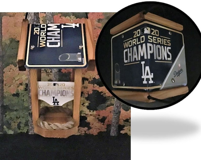 LA Dodgers World Series Champions Two-Sided Cedar Bird Feeder