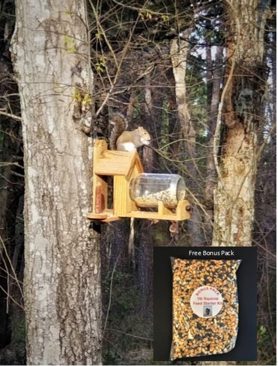 Cedar Squirrel Feeder with optional dual corn holder (includes gallon glass jar)
