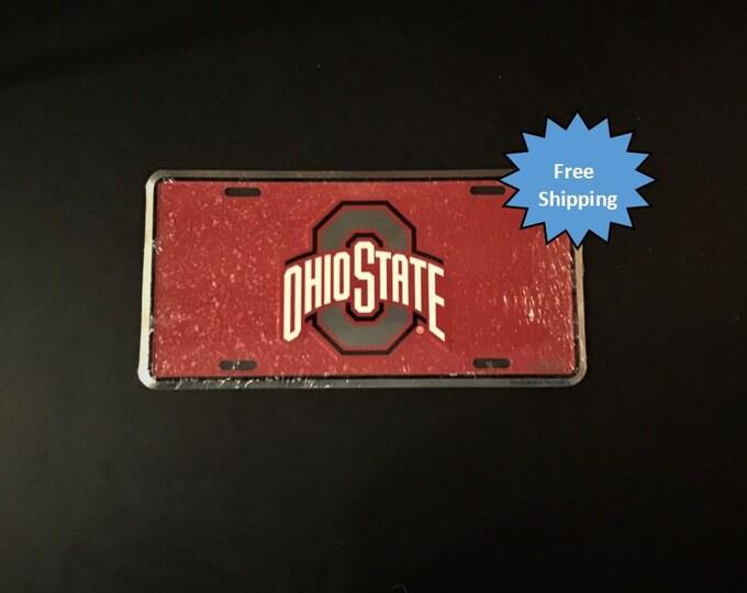 Ohio State Mosaic Aluminum License Plate