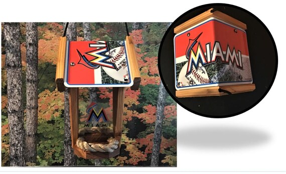 Miami Marlins Two-Sided Cedar Bird Feeder