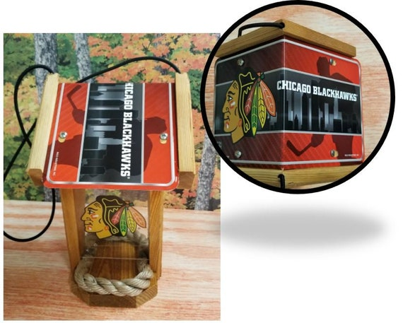 Chicago Blackhawks Two-Sided Cedar Bird Feeder