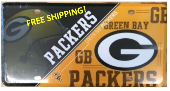 Green Bay Packers Metal License Plate Split Design