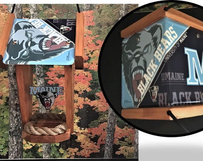 Maine University Black Bears Two-Sided Cedar Bird Feeder (SI Series)