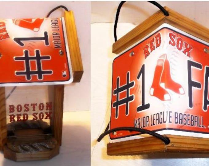 Boston Red Sox #1 Fan Two-Sided Cedar Bird Feeder