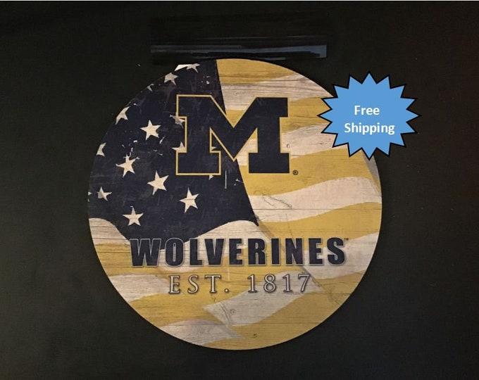 Michigan University Wolverines Round Wood Sign