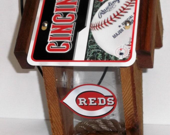 Cincinnati Reds Two-Sided Cedar Bird Feeder