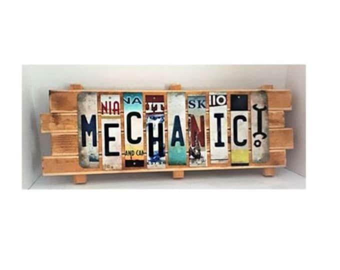 Mechanic Cut License Plate Strip Sign