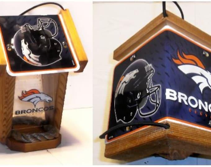 Denver Broncos Two-Sided Cedar Bird Feeder