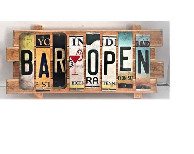 Bar Open Cut License Plate Strip sign