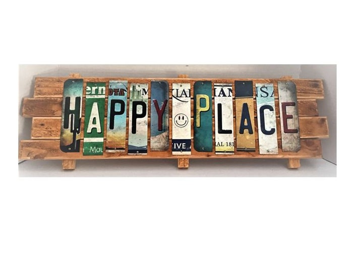 Happy Place Cut License Plate Strip sign