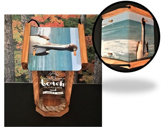 Pelican (The Beach is Calling) two sided cedar bird feeder