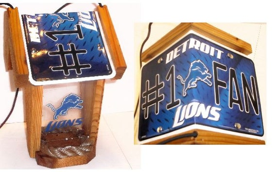 Detroit Lions #1 Fan Two-Sided Cedar Bird Feeder