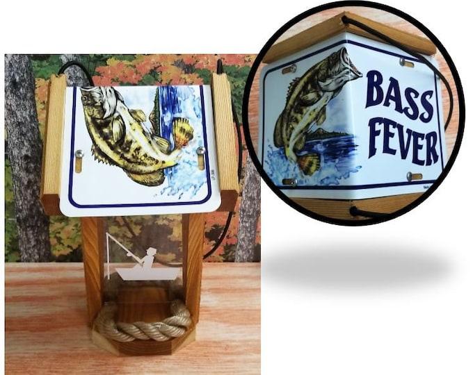 Bass Fishing two sided cedar bird feeder