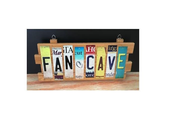 Fan Cave Cut License Plate Strip Sign