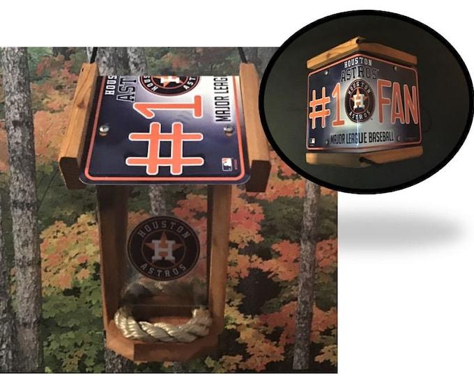 Houston Astros #1 Fan Two-Sided Cedar Bird Feeder