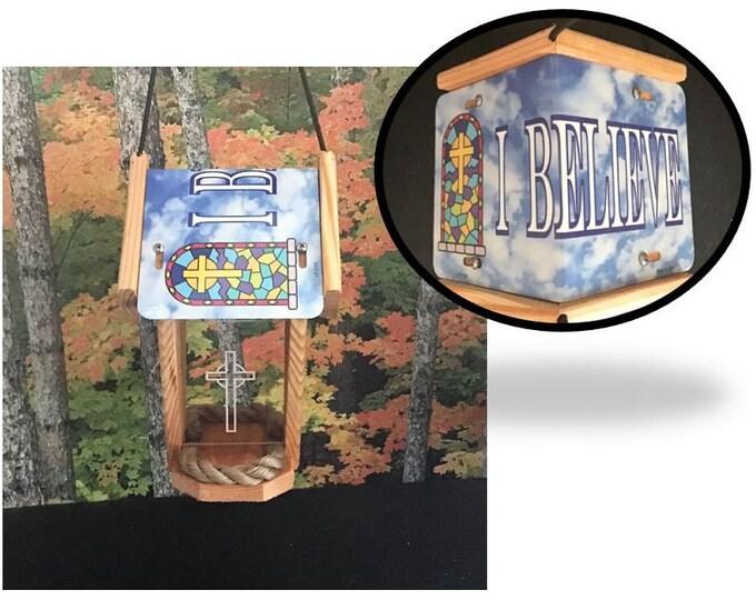 I Believe Cedar two-sided Bird Feeder