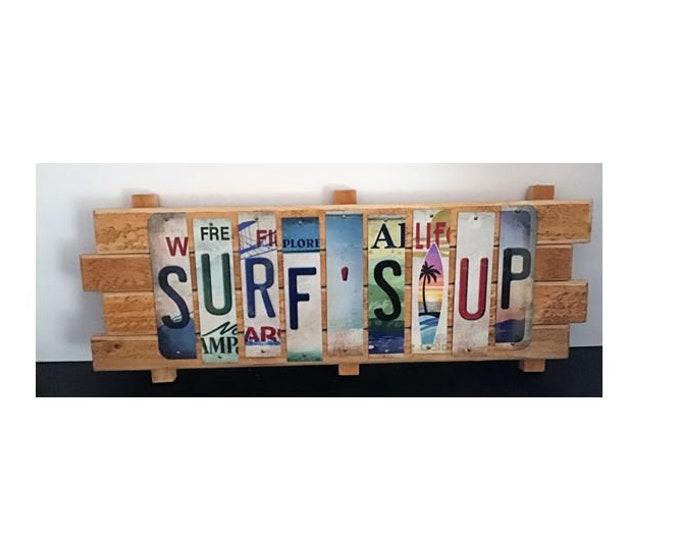 Surfs Up Cut License Plate Strip sign