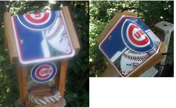 Chicago Cubs Two-Sided Cedar Bird Feeder