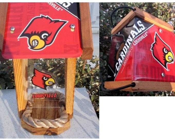 Louisville Cardinals Two-Sided Cedar Bird Feeder (SI series)