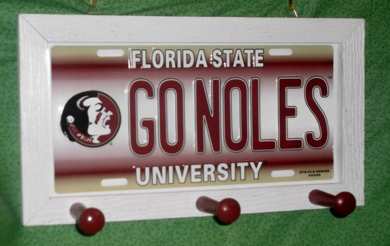 Florida State  University License Plate Peg Hanger