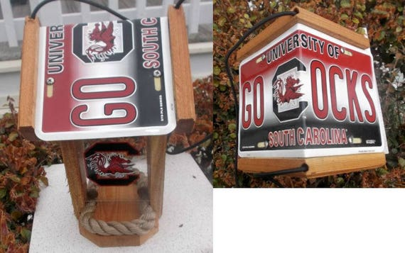 South Carolina (USC) Game Cocks Two-Sided Cedar Bird Feeder