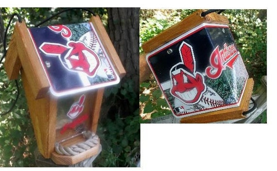 Cleveland Indians Two-Sided Cedar Bird Feeder