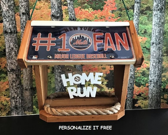 NY Mets #1 Fan Deluxe Cedar Two Sided Bird Feeder