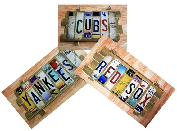 MLB Cut License Plate Strip Sign