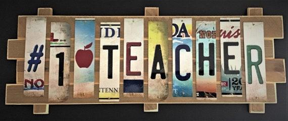 Teacher Cut License Plate Strip sign